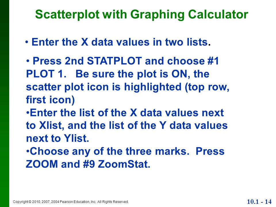 Scatterplot with Graphing Calculator