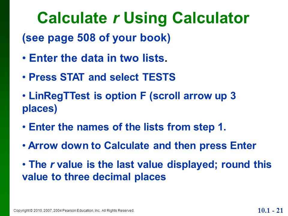 Calculate r Using Calculator