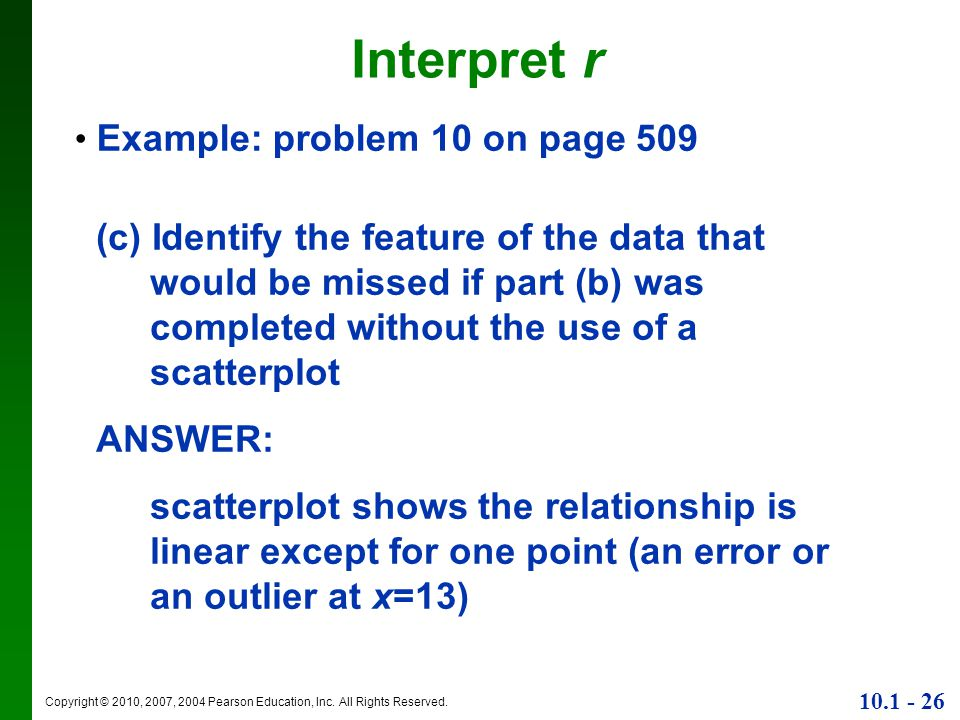 Interpret r Example: problem 10 on page 509.