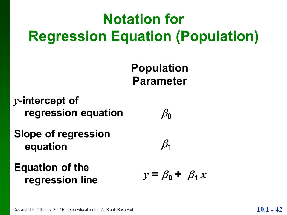 Notation for Regression Equation (Population)