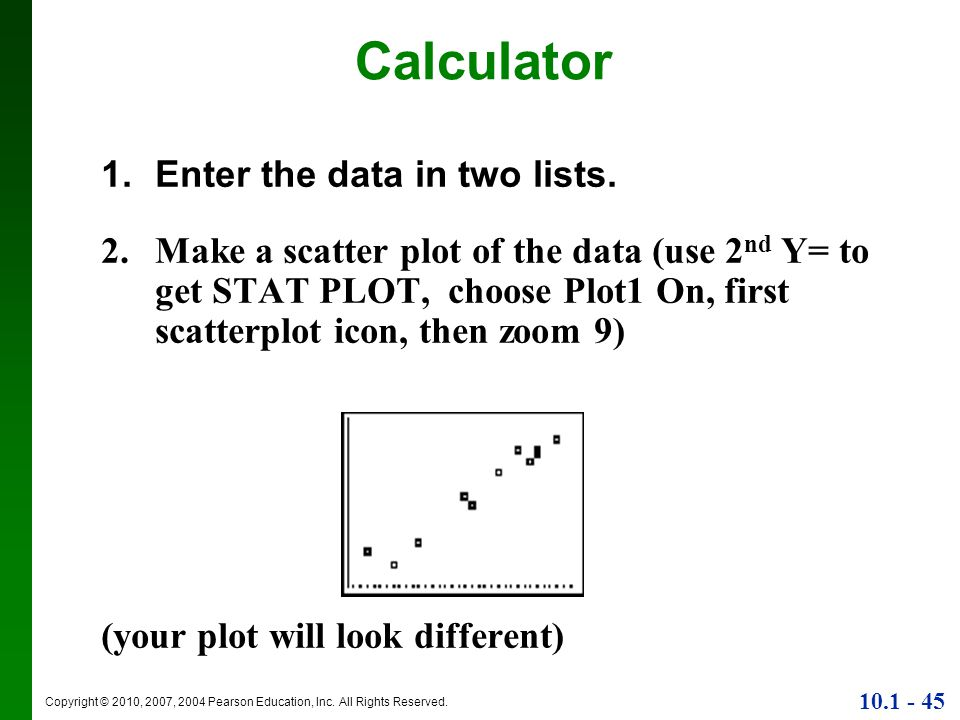 Calculator Enter the data in two lists.
