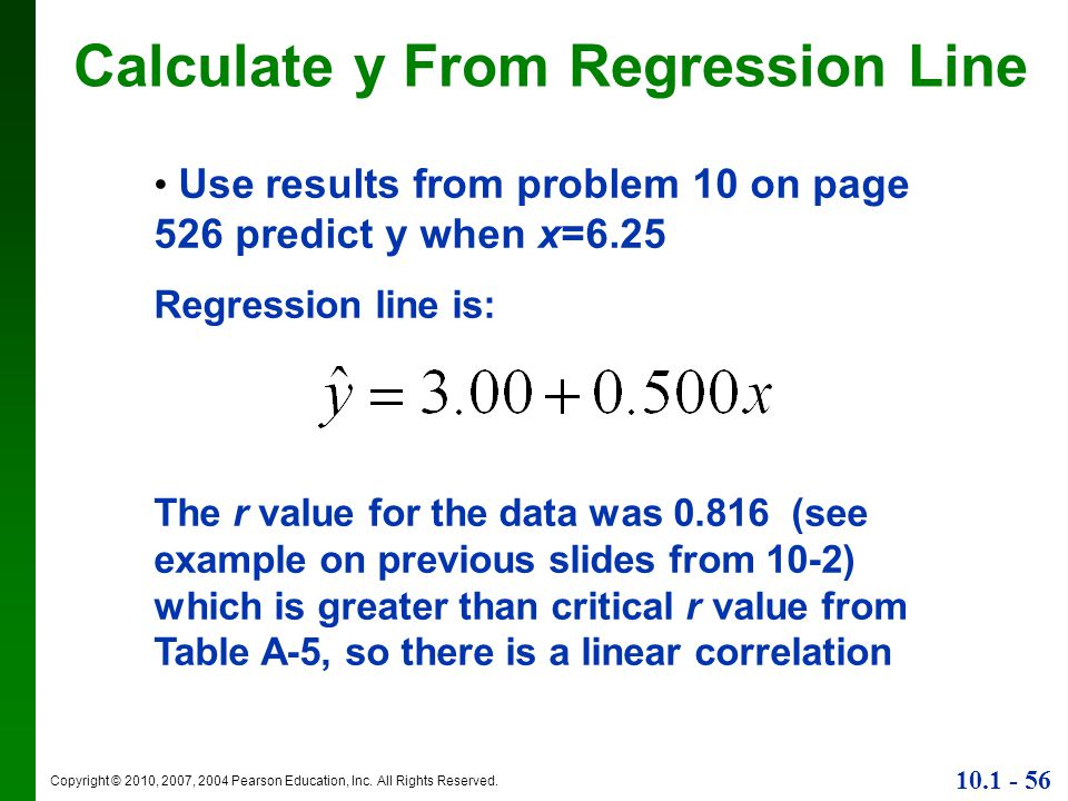 Calculate y From Regression Line