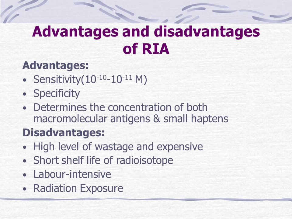 Advantages and disadvantages of RIA