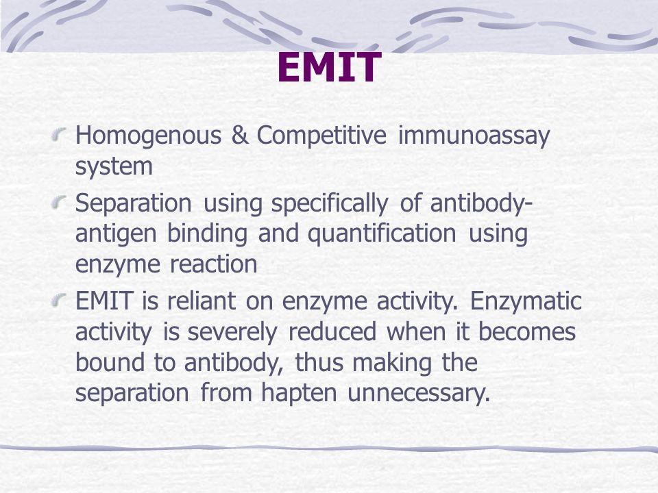 EMIT Homogenous & Competitive immunoassay system