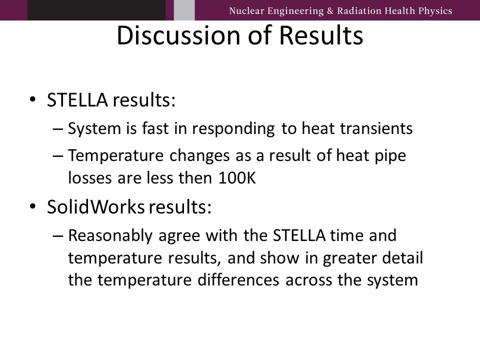 Discussion of Results STELLA results: SolidWorks results: