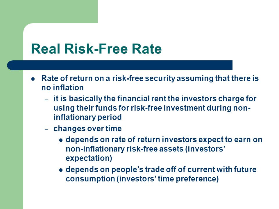 Real Risk-Free Rate Rate of return on a risk-free security assuming that there is no inflation.