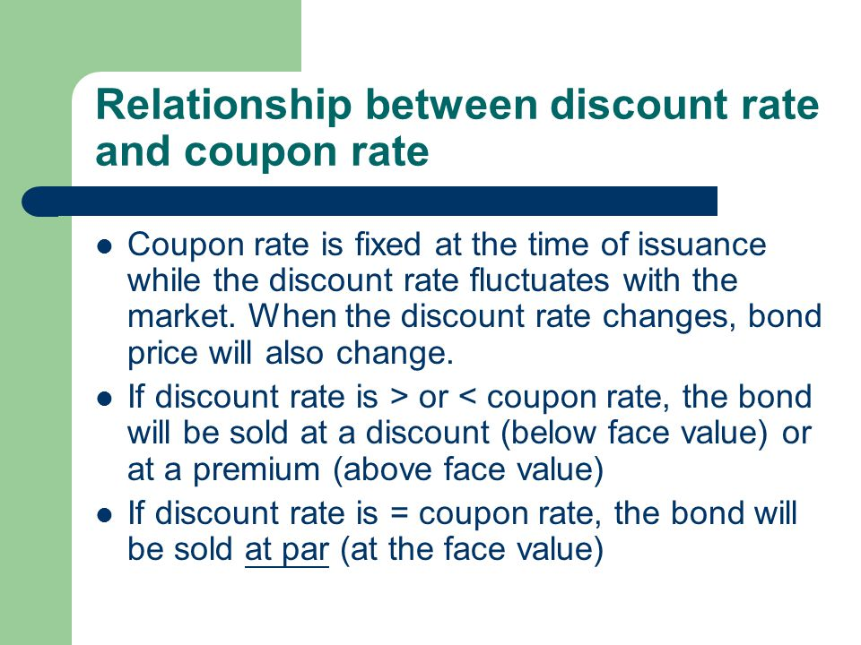 Relationship between discount rate and coupon rate