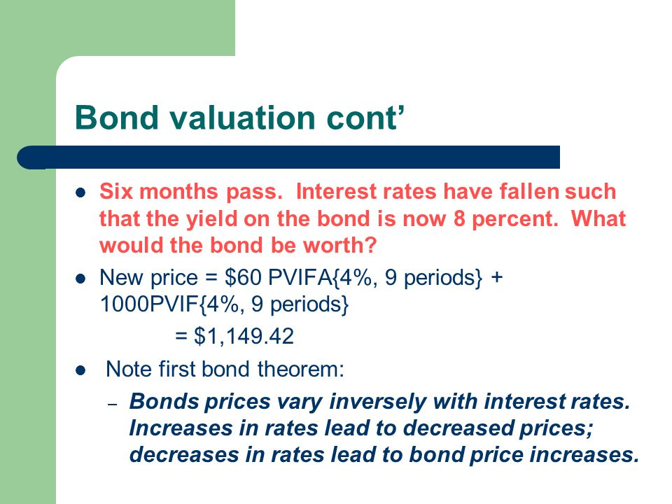 Bond valuation cont' Six months pass. Interest rates have fallen such that the yield on the bond is now 8 percent. What would the bond be worth