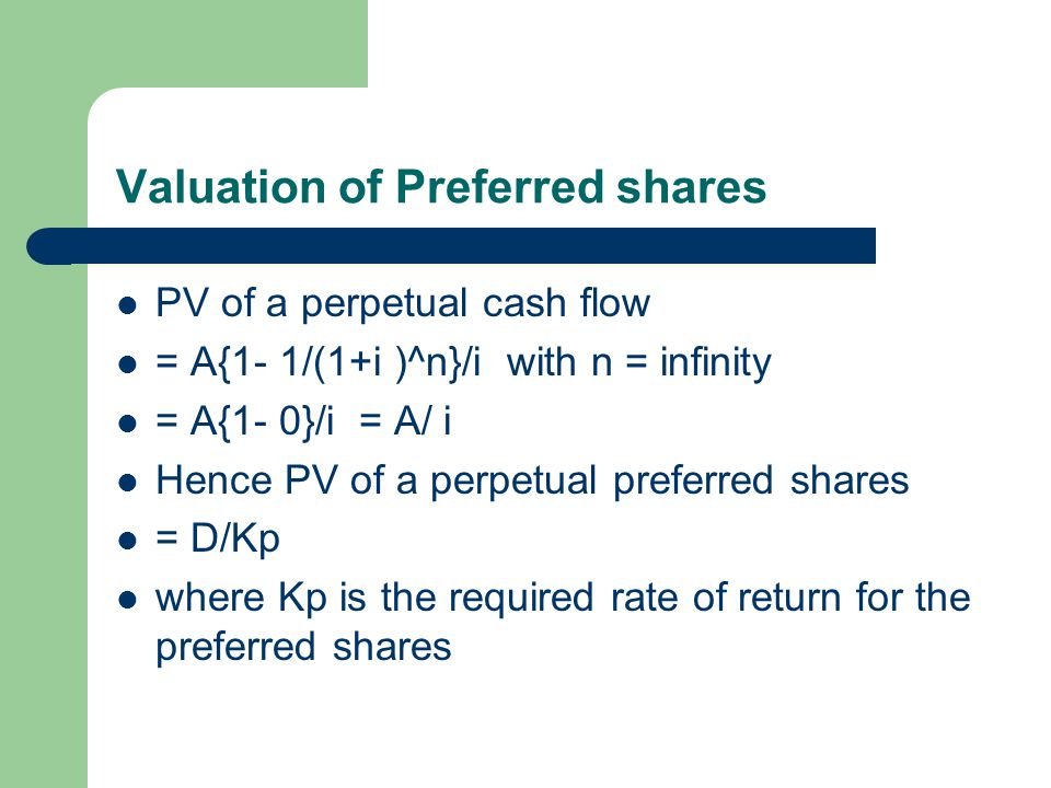 Valuation of Preferred shares