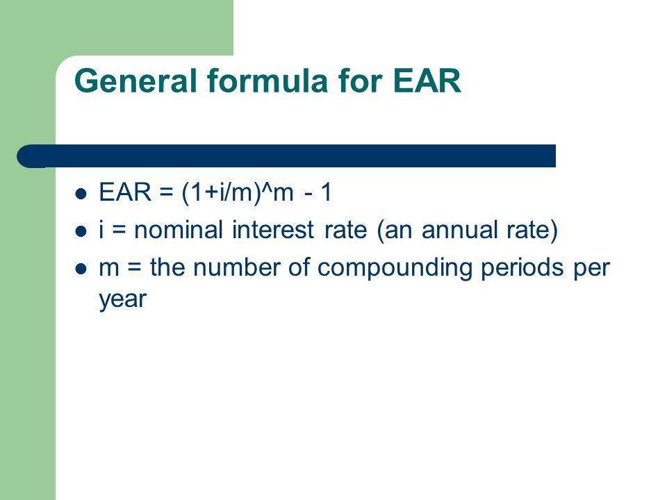 General formula for EAR