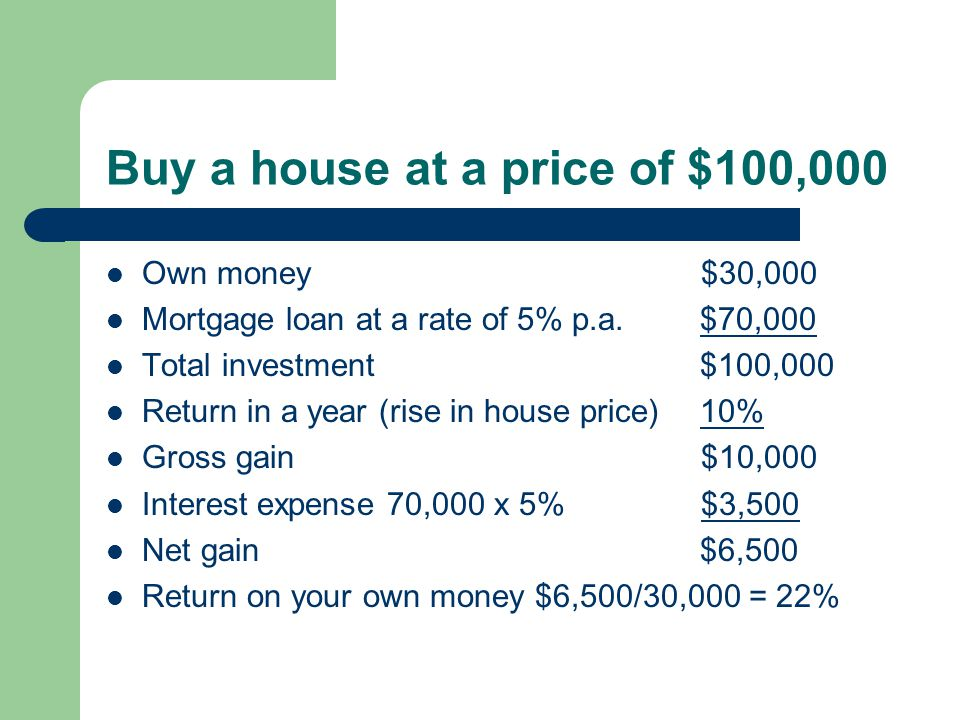 Buy a house at a price of $100,000