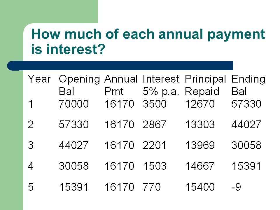 How much of each annual payment is interest