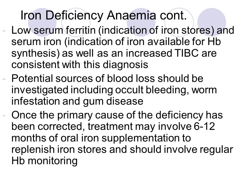 Iron Deficiency Anaemia cont.