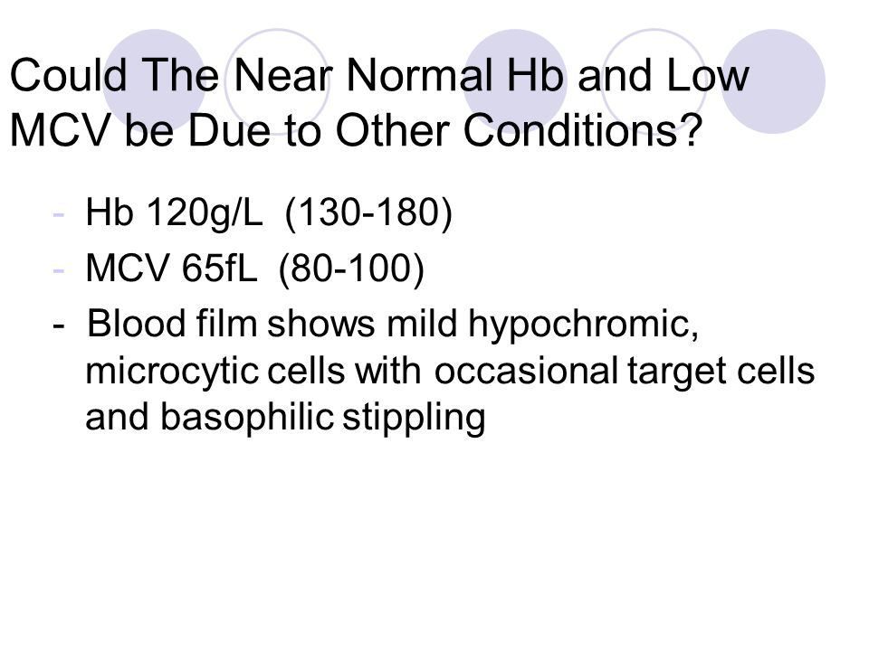 Could The Near Normal Hb and Low MCV be Due to Other Conditions