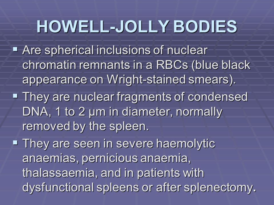 HOWELL-JOLLY BODIES Are spherical inclusions of nuclear chromatin remnants in a RBCs (blue black appearance on Wright-stained smears).