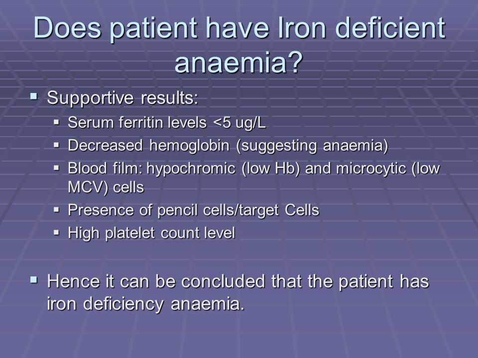 Does patient have Iron deficient anaemia