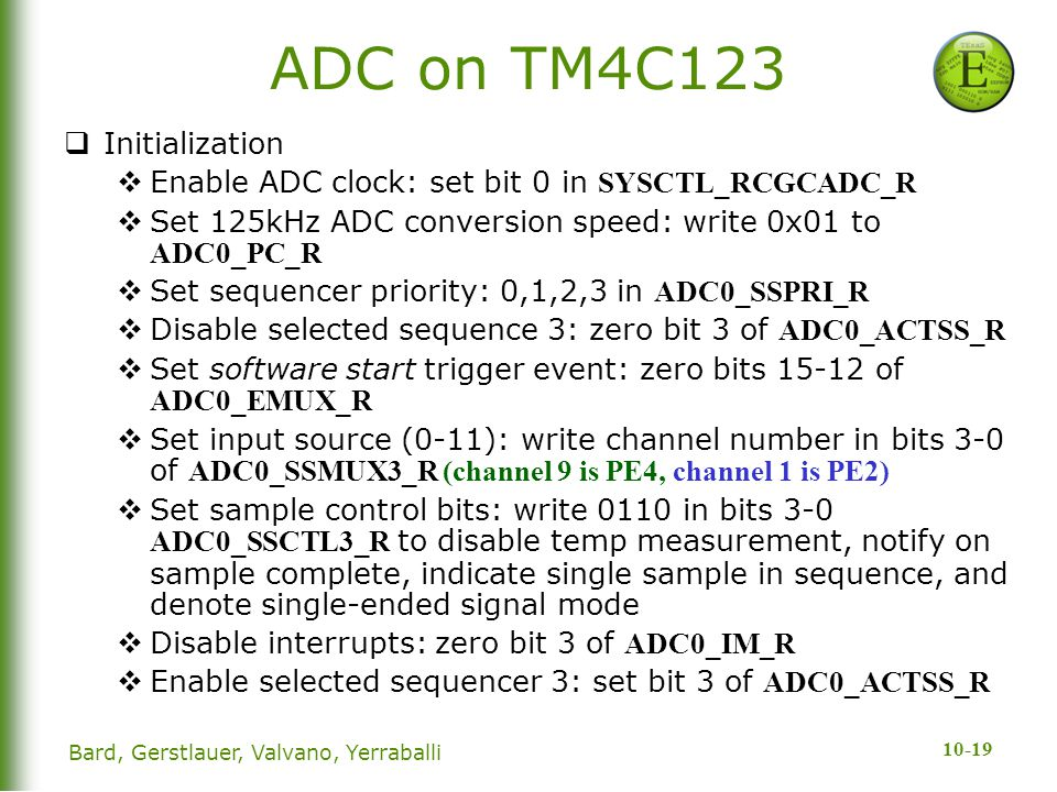 ADC on TM4C123 Initialization