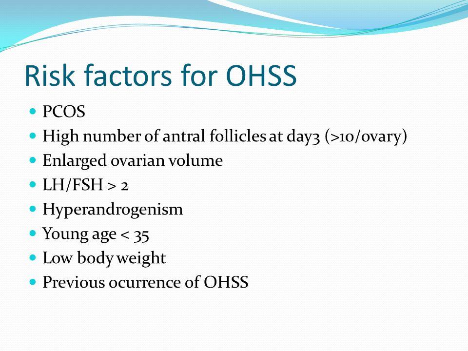 Risk factors for OHSS PCOS