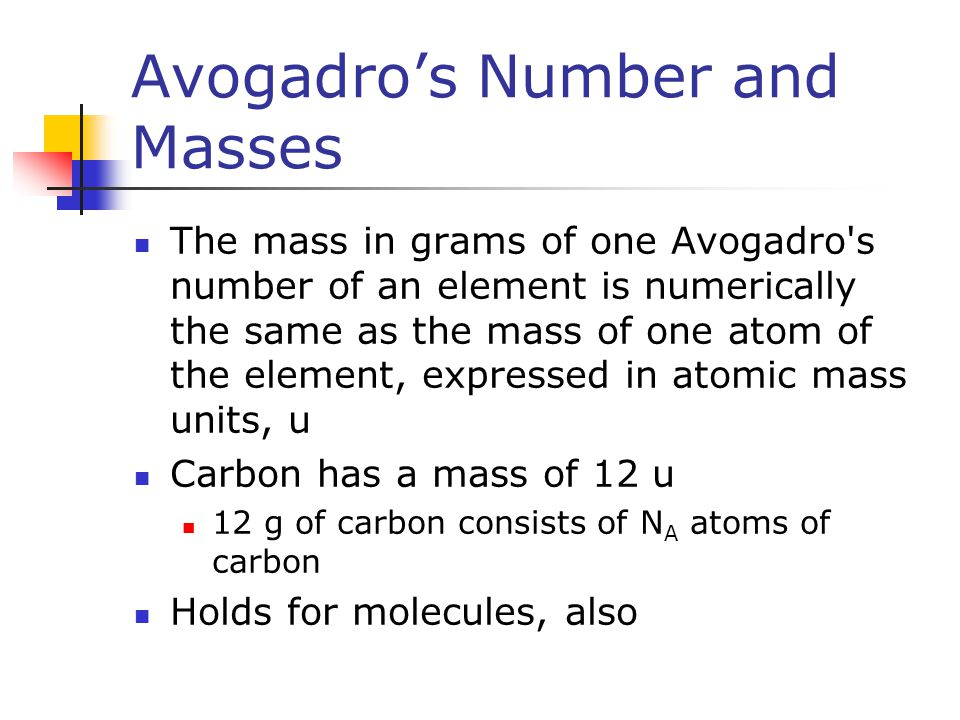 Avogadro's Number and Masses