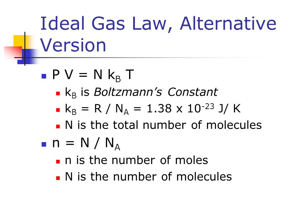 Ideal Gas Law, Alternative Version