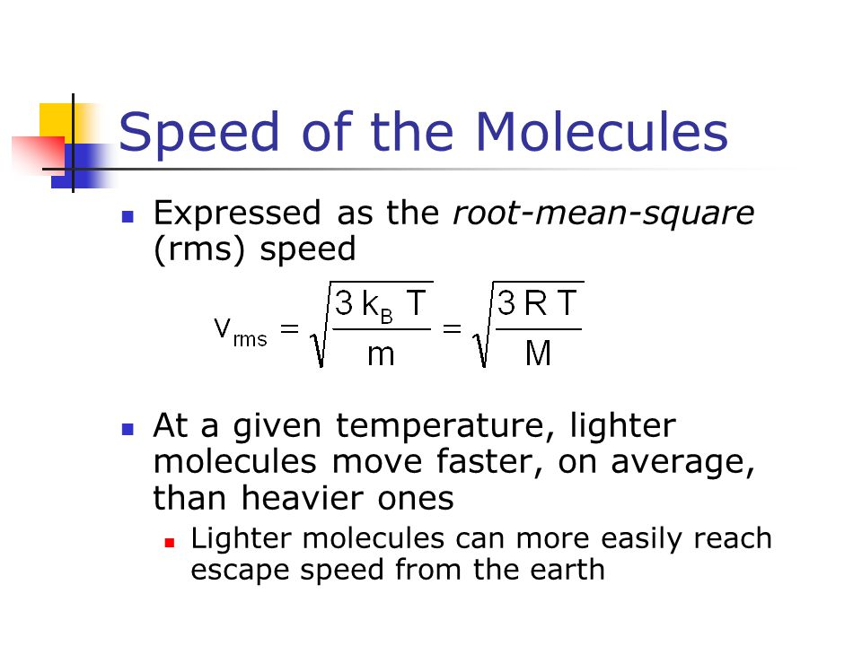Speed of the Molecules Expressed as the root-mean-square (rms) speed