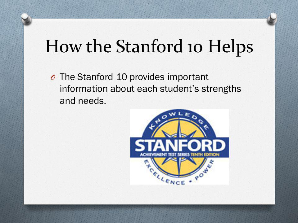 How the Stanford 10 Helps The Stanford 10 provides important information about each student's strengths and needs.