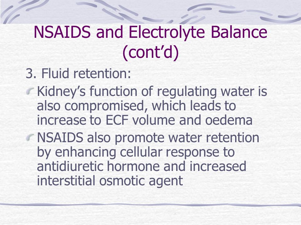 NSAIDS and Electrolyte Balance (cont'd)