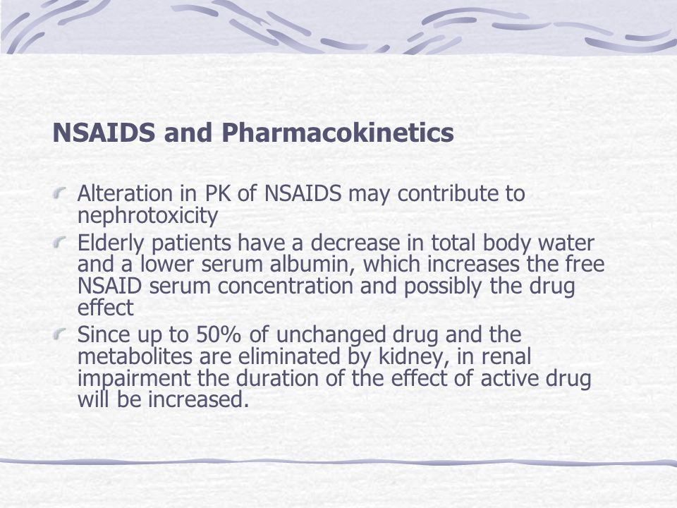 NSAIDS and Pharmacokinetics