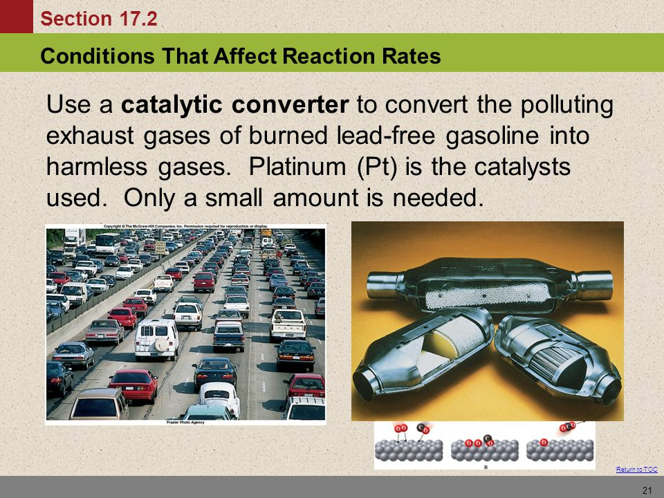 Use a catalytic converter to convert the polluting exhaust gases of burned lead-free gasoline into harmless gases.