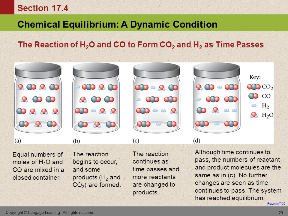 The Reaction of H2O and CO to Form CO2 and H2 as Time Passes