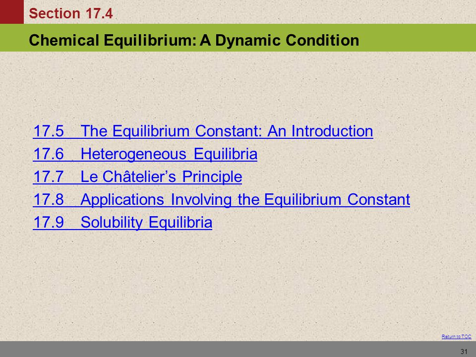 17.5 The Equilibrium Constant: An Introduction