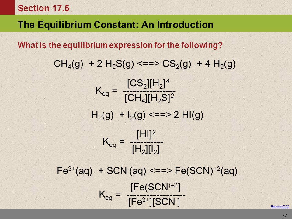 What is the equilibrium expression for the following