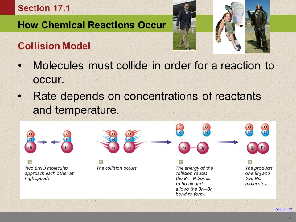 Molecules must collide in order for a reaction to occur.