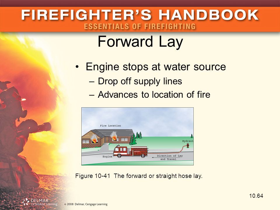 Forward Lay Engine stops at water source Drop off supply lines