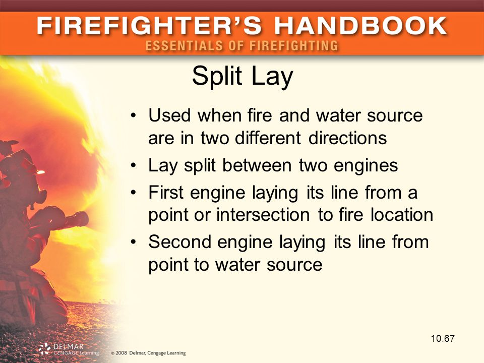 Split Lay Used when fire and water source are in two different directions. Lay split between two engines.