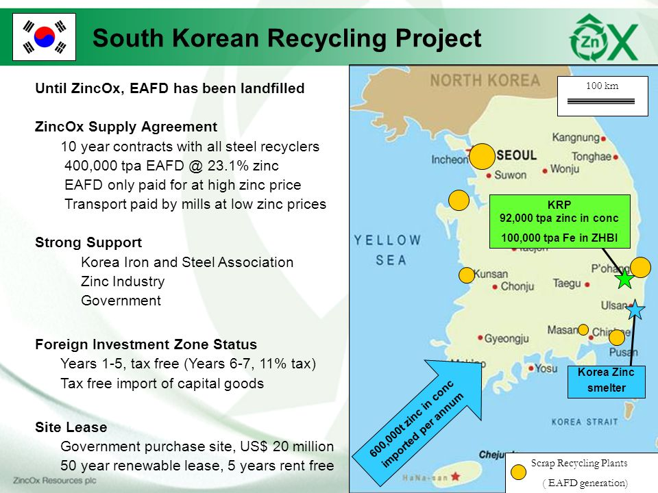600,000t zinc in conc imported per annum