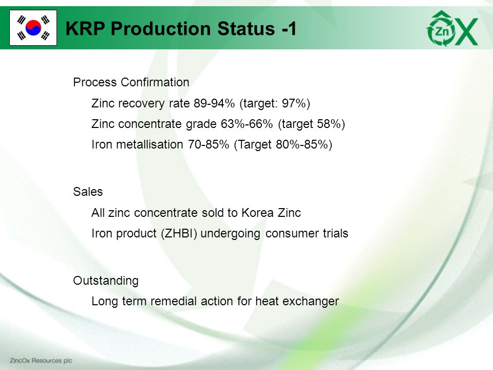 KRP Production Status -1