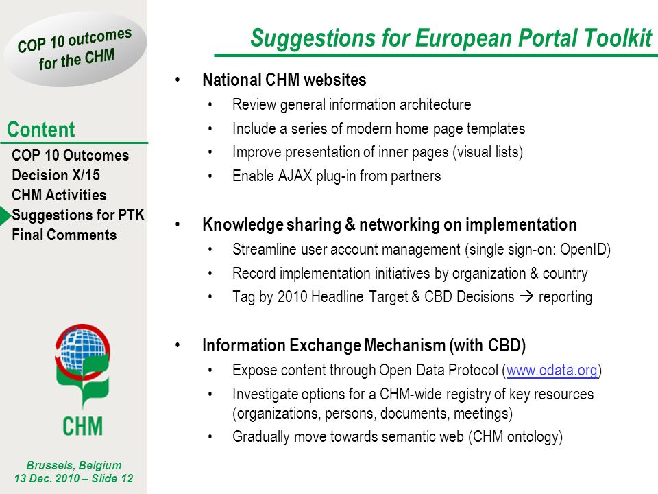 Suggestions for European Portal Toolkit