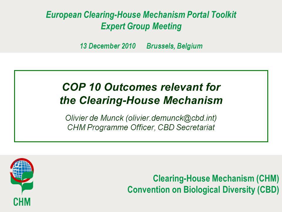 European Clearing-House Mechanism Portal Toolkit Expert Group Meeting