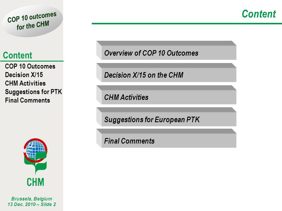 Content Overview of COP 10 Outcomes Decision X/15 on the CHM