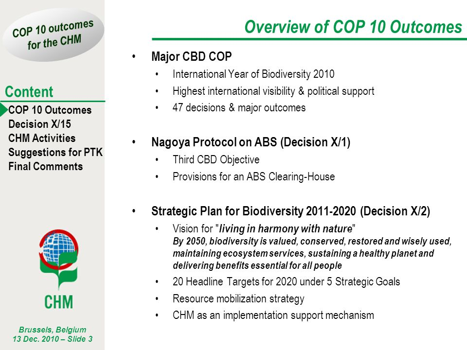 Overview of COP 10 Outcomes