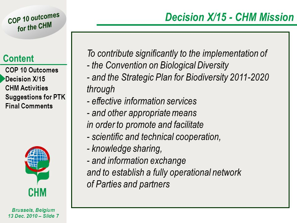 Decision X/15 - CHM Mission