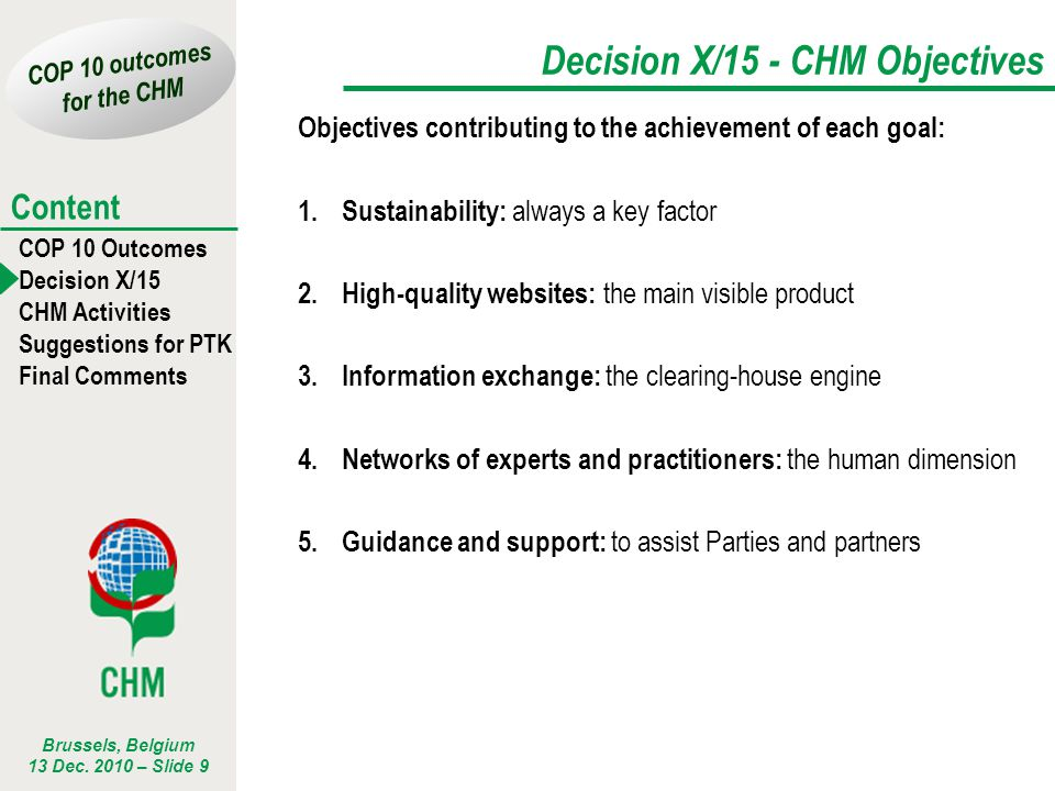Decision X/15 - CHM Objectives
