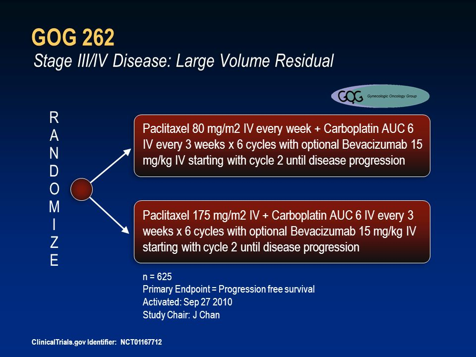 GOG 262 Stage III/IV Disease: Large Volume Residual