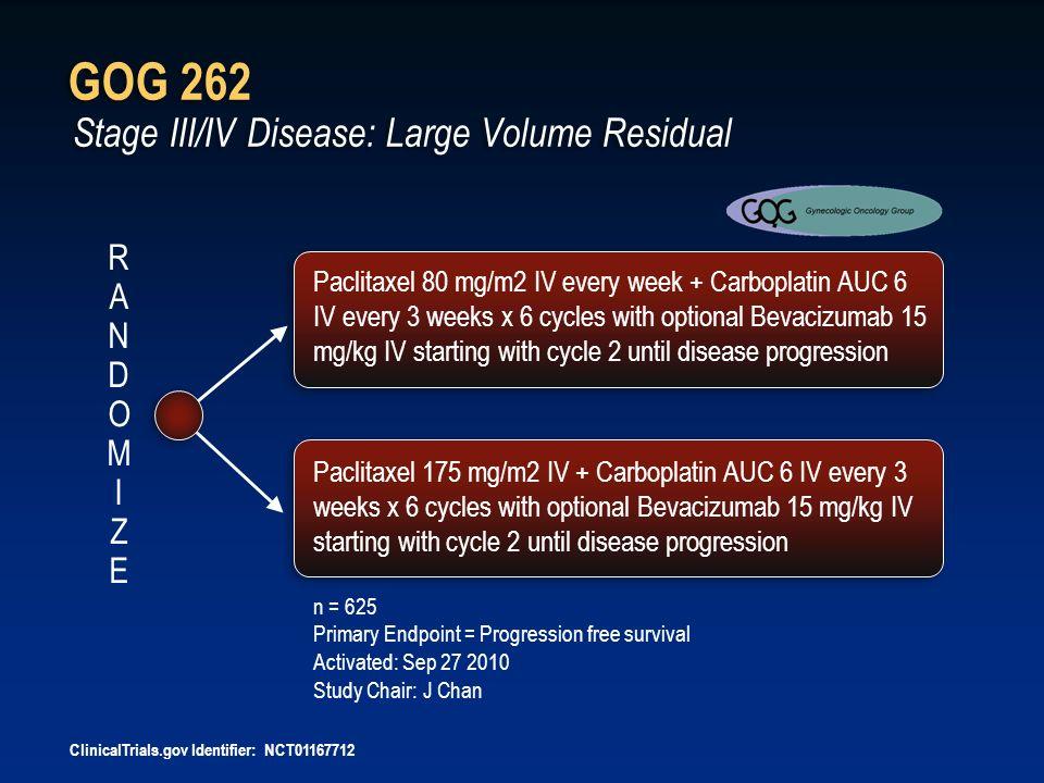 GOG 262 Stage III/IV Disease: Large Volume Residual