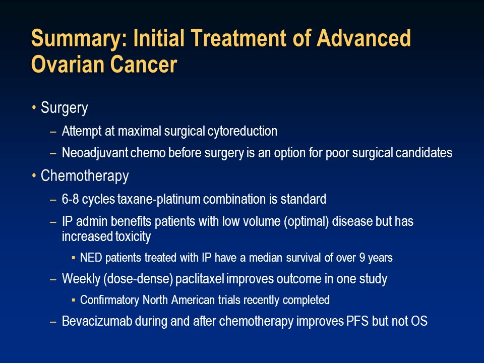 Summary: Initial Treatment of Advanced Ovarian Cancer
