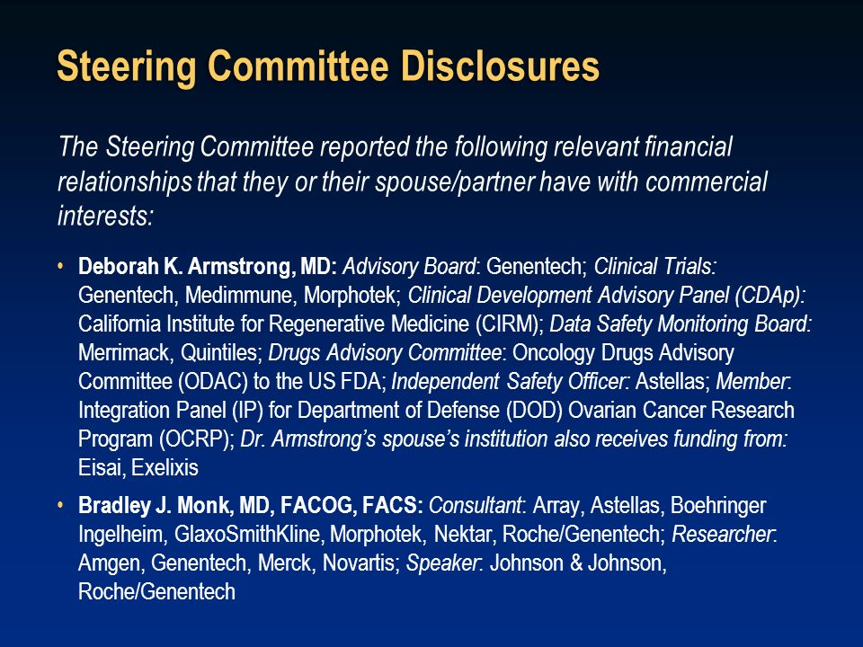Steering Committee Disclosures