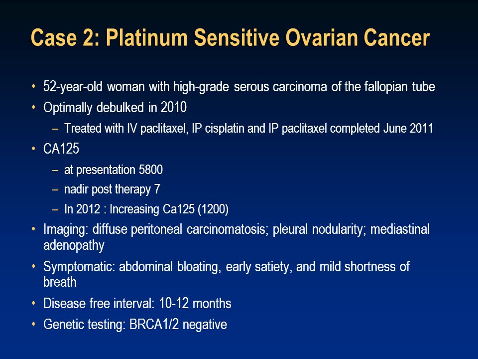 Case 2: Platinum Sensitive Ovarian Cancer