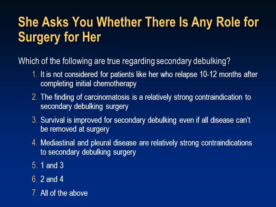 She Asks You Whether There Is Any Role for Surgery for Her