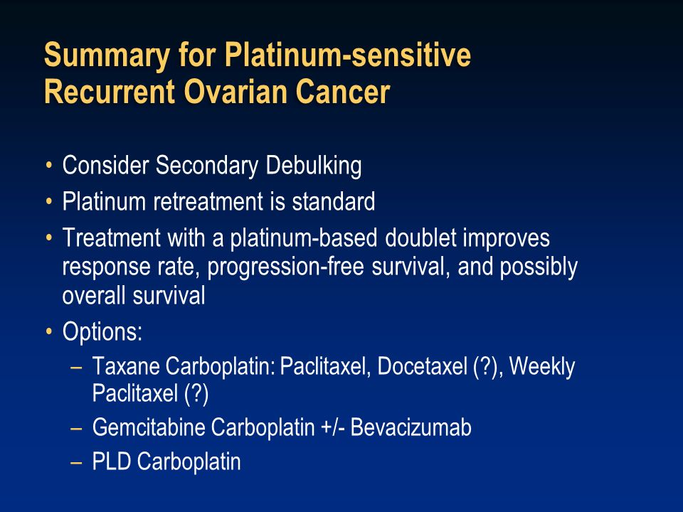 Summary for Platinum-sensitive Recurrent Ovarian Cancer